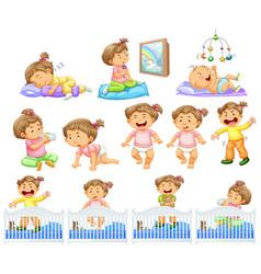 Set baby girl doing different activities vector