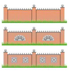 Set of manor or garden brick fences with vector