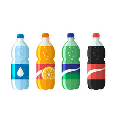 Set of plastic bottle of water and sweet soda cola vector