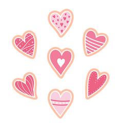 set pink heart cookies vector image