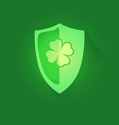 Shield with Shamrock Clover vector image