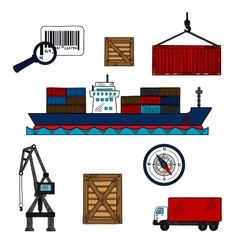 Shipping and delivery industry icons vector image