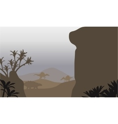 Silhouette of ankylosaurus and spinosaurus in vector image