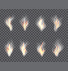 smoke and fire set of transparent effects vector image