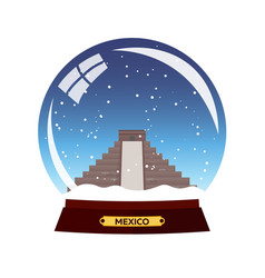 snow globe city mexico winter travel vector image