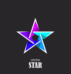 Star flat 3d abstract symbol popularity concept vector