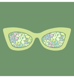 Sunglasses with flowers reflection vector