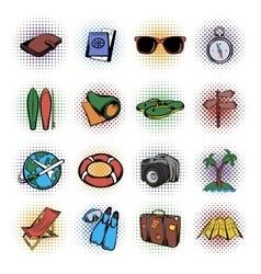 Travel comics icons set vector image