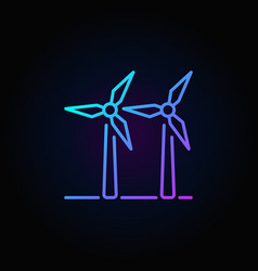 two wind turbines colorful icon vector image