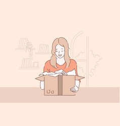 unwrapping pleasant surprise package delivery vector image