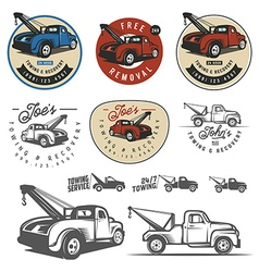 Vintage car tow truck emblems and logos vector image