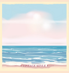 vintage seaside summer view poster seascape vector image