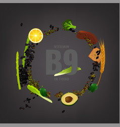 Vitamin b9 background vector