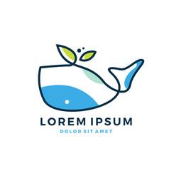 Whale leaf logo vector