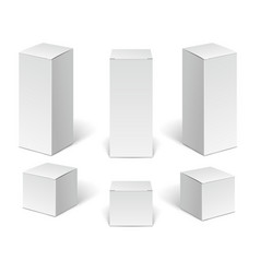 white paper cardboard package boxes set of blank vector image