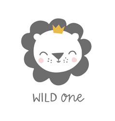 Wild one lion with crown kids baby vector