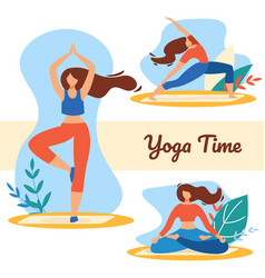 yoga time set with girls in sports wear meditating vector image