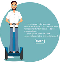Young businessman on segway vector