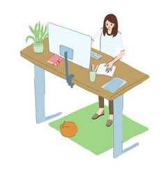 Young woman works at home standing at high desk vector