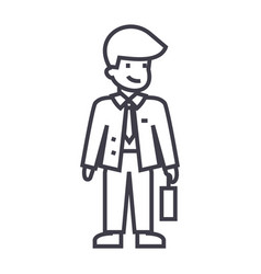 businessman with case line icon sign vector image vector image
