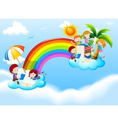Children reading books over the rainbow vector image vector image
