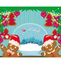christmas card with a ginger-bread and Santa Claus vector image vector image