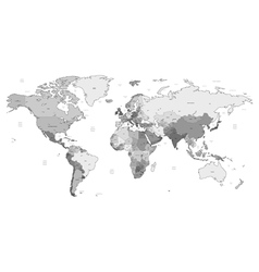 Gray detailed World map vector image vector image