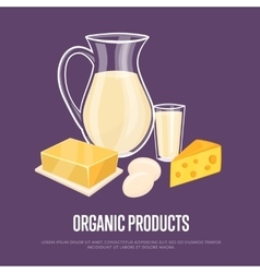 Organic products banner with dairy composition vector image