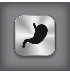 Stomach icon - metal app button vector image vector image