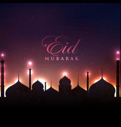 beautiful mosque silhouette glowing background vector image vector image