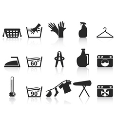 black laundry icons set vector image vector image
