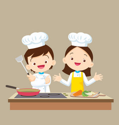 cute little chef boy and girl vector image vector image