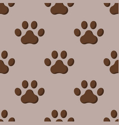 dog or cat paw dog footprint flat seamless pattern vector image