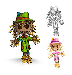 Halloween monsters isolated hand drawn scarecrows vector image