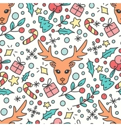 Hand Drawn Christmas Seamless Pattern New Year vector image vector image