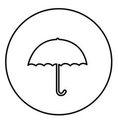 monochrome contour circular frame with umbrella vector image