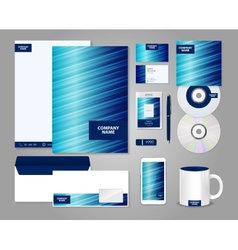 Striped blue corporate identity template vector image vector image