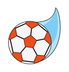 color image cartoon soccer ball with speed vector image