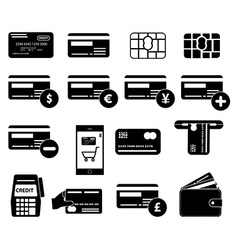 Credit card icons set vector image vector image