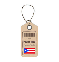 hang tag made in puerto rico with flag icon vector image vector image