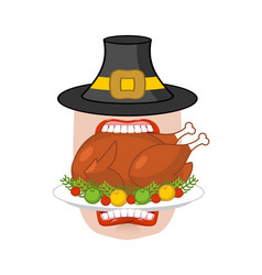 Happy thanksgiving eat cooked turkey open mouth vector