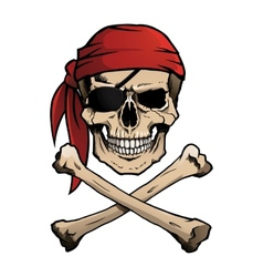 Jolly Roger pirate skull and crossbones vector image vector image