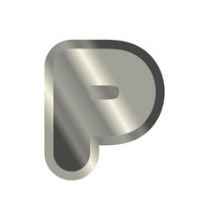 letter p steel font metal alphabet sign iron abc vector image vector image
