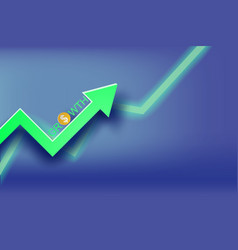 paper art of graph economic growth concept vector image vector image