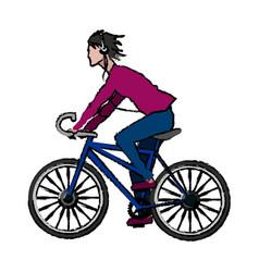 People man with headphones riding bicycle cartoon vector