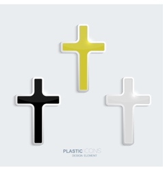 Set of crosses in a plastic style vector image