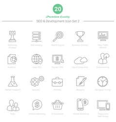 Set of Thin Line SEO and Development icons Set 2 vector image