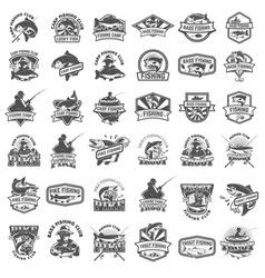 Big set of fishing icons carp fishing trout vector