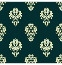 Damask style seamless floral pattern with beige vector image