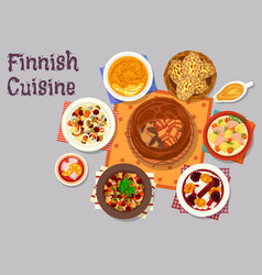finnish cuisine traditional dishes icon design vector image vector image